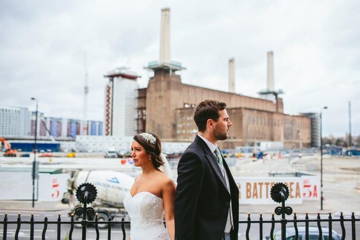 alternative wedding portraits at Battersea Power station