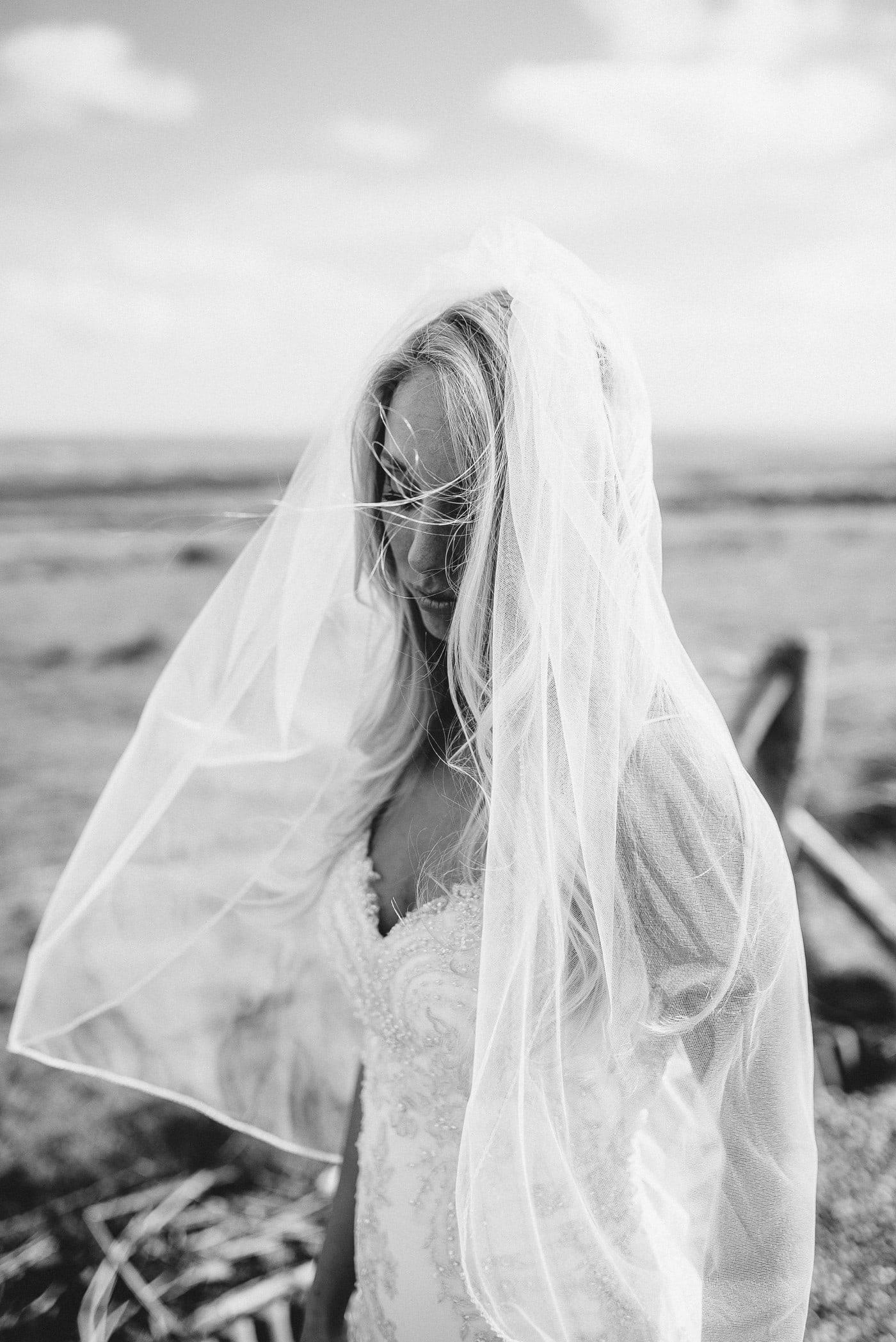 Black & White Bridal Portrait Intimate wedding Cliffs of Moher Ireland